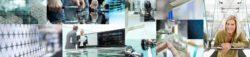 Collage verschiedener Messeimpressionen der glasstec