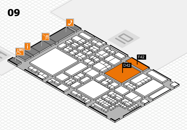 glasstec 2016 hall map (Hall 9): stand D42, stand F42