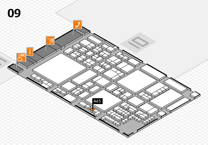 glasstec 2016 hall map (Hall 9): stand A45