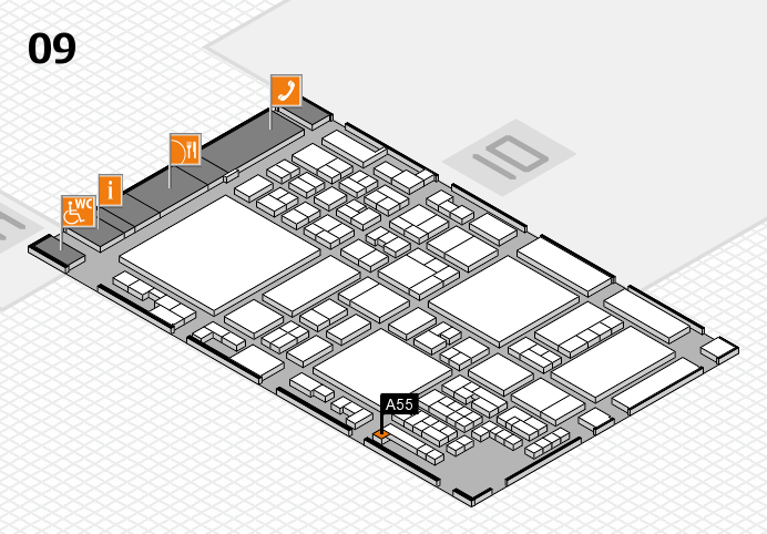 glasstec 2016 hall map (Hall 9): stand A55