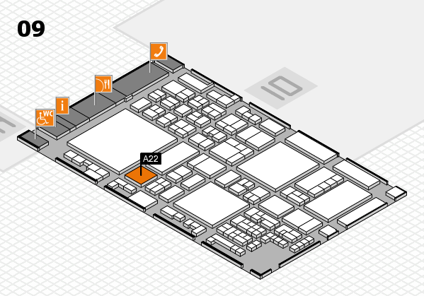 glasstec 2016 hall map (Hall 9): stand A22