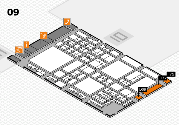 glasstec 2016 hall map (Hall 9): stand D69, stand F72