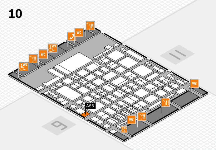 glasstec 2016 hall map (Hall 10): stand A55