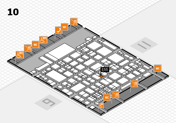 glasstec 2016 hall map (Hall 10): stand E55