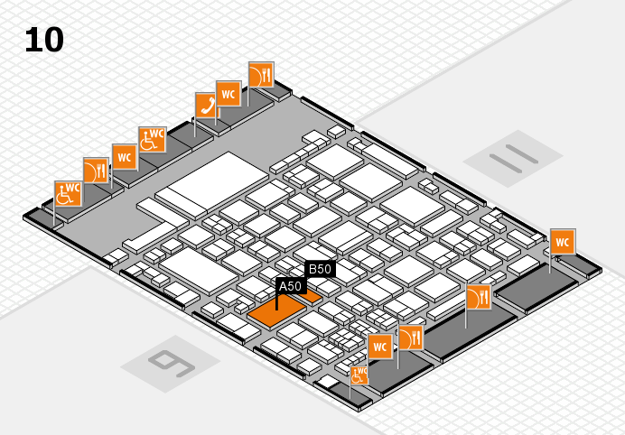 glasstec 2016 hall map (Hall 10): stand A50, stand B50