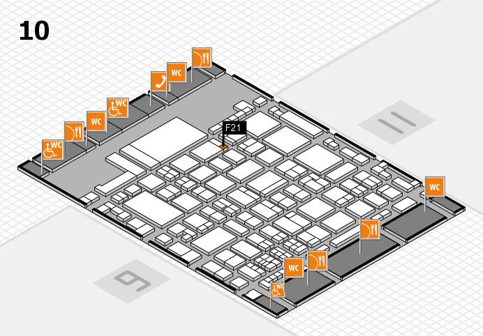 glasstec 2016 hall map (Hall 10): stand F21