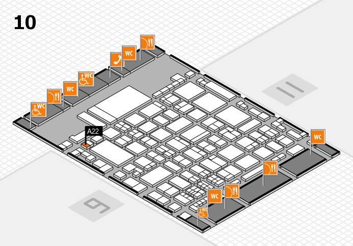 glasstec 2016 hall map (Hall 10): stand A22