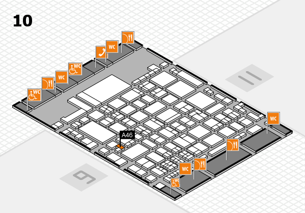glasstec 2016 hall map (Hall 10): stand A46