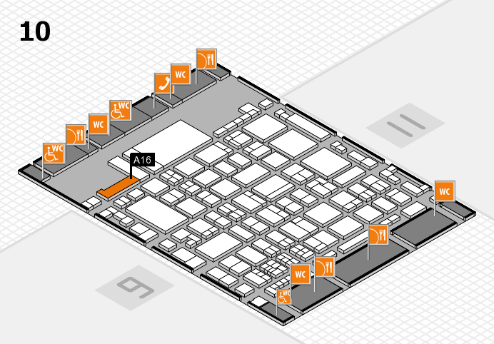glasstec 2016 hall map (Hall 10): stand A16