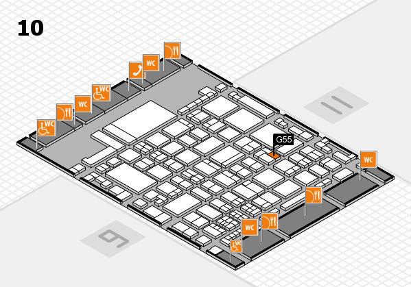 glasstec 2016 hall map (Hall 10): stand G55