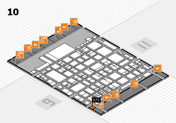 glasstec 2016 hall map (Hall 10): stand A73