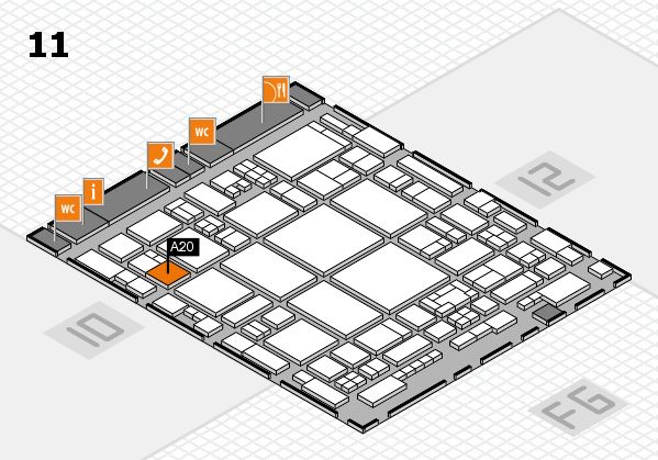glasstec 2016 hall map (Hall 11): stand A20