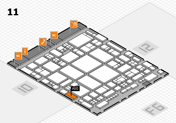 glasstec 2016 hall map (Hall 11): stand A55