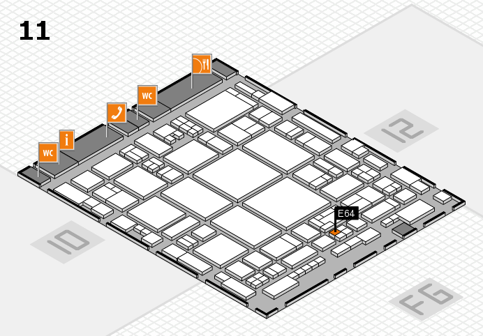 glasstec 2016 hall map (Hall 11): stand E64