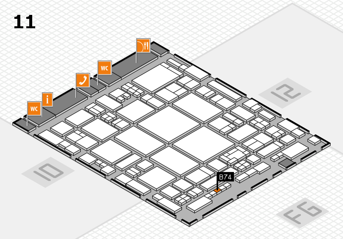 glasstec 2016 hall map (Hall 11): stand B74