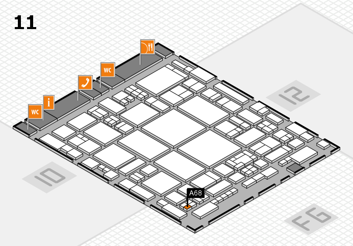 glasstec 2016 hall map (Hall 11): stand A68