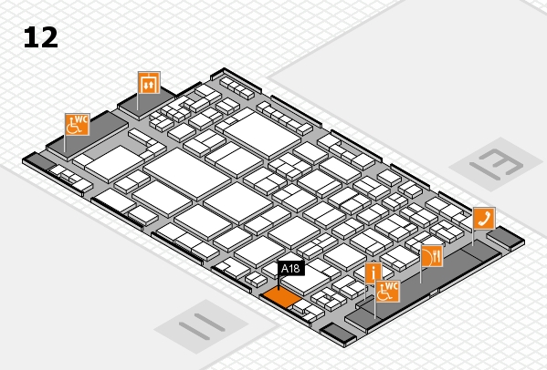 glasstec 2016 hall map (Hall 12): stand A18