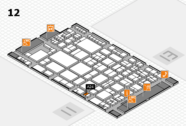 glasstec 2016 hall map (Hall 12): stand A24