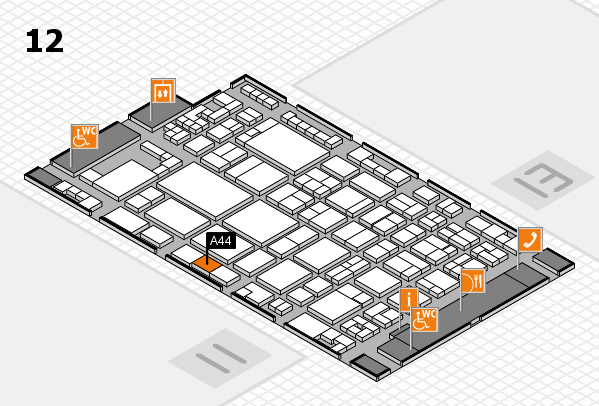 glasstec 2016 hall map (Hall 12): stand A44