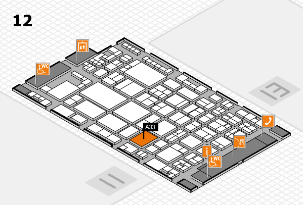 glasstec 2016 hall map (Hall 12): stand A33