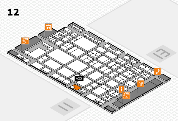 glasstec 2016 hall map (Hall 12): stand A30