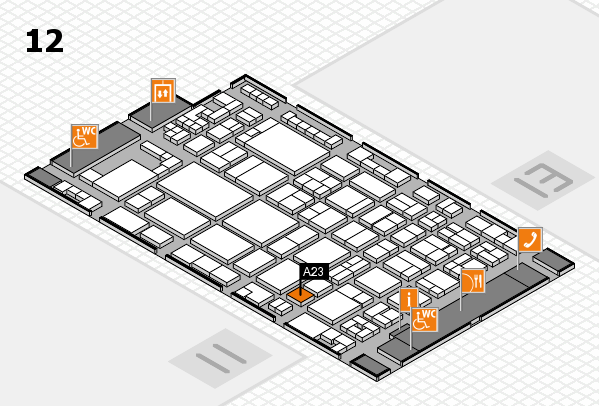 glasstec 2016 hall map (Hall 12): stand A23