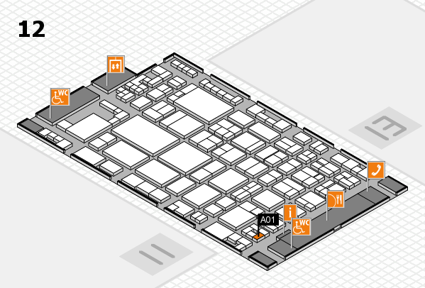 glasstec 2016 hall map (Hall 12): stand A01