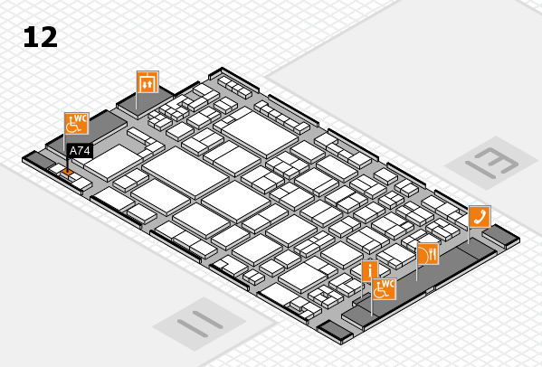 glasstec 2016 hall map (Hall 12): stand A74