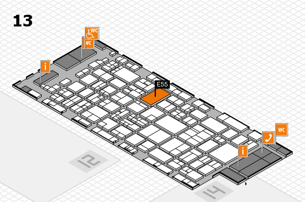 glasstec 2016 hall map (Hall 13): stand E55