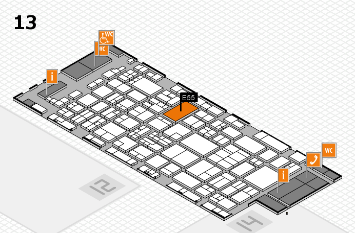 glasstec 2016 Hallenplan (Halle 13): Stand E55