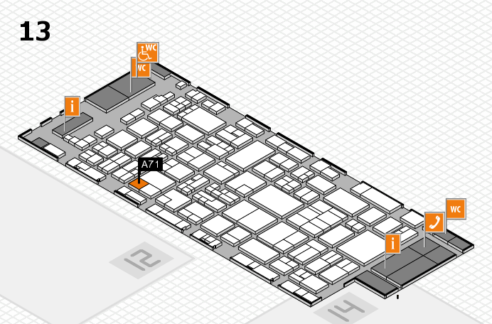 glasstec 2016 hall map (Hall 13): stand A71