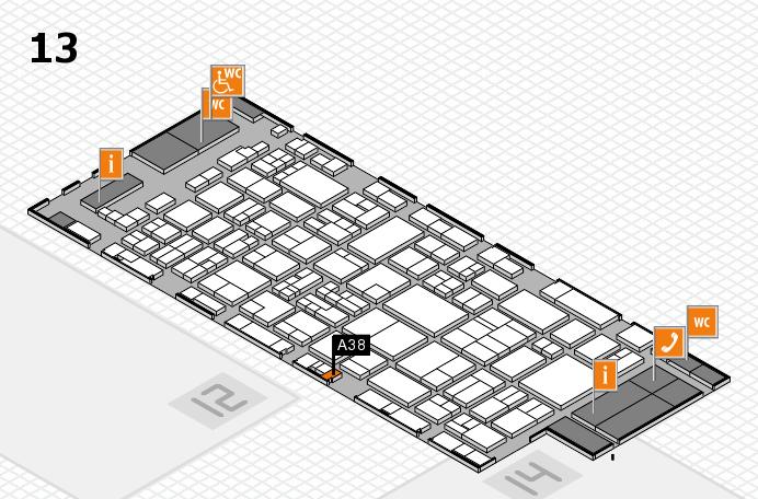glasstec 2016 Hallenplan (Halle 13): Stand A38