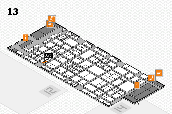 glasstec 2016 hall map (Hall 13): stand A73
