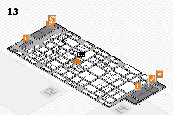 glasstec 2016 hall map (Hall 13): stand D55