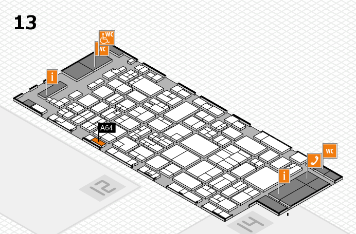 glasstec 2016 hall map (Hall 13): stand A64