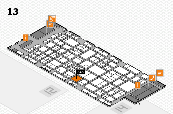 glasstec 2016 hall map (Hall 13): stand A45