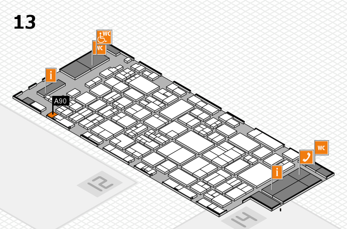 glasstec 2016 hall map (Hall 13): stand A90