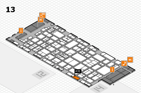 glasstec 2016 hall map (Hall 13): stand A16