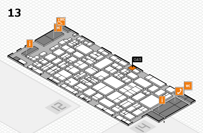 glasstec 2016 hall map (Hall 13): stand G45