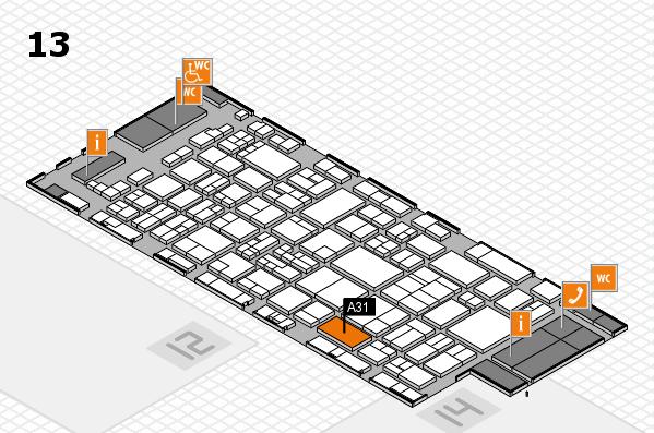 glasstec 2016 hall map (Hall 13): stand A31