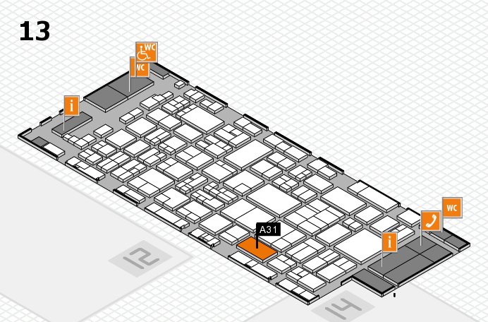 glasstec 2016 hall map (Hall 13): stand A31