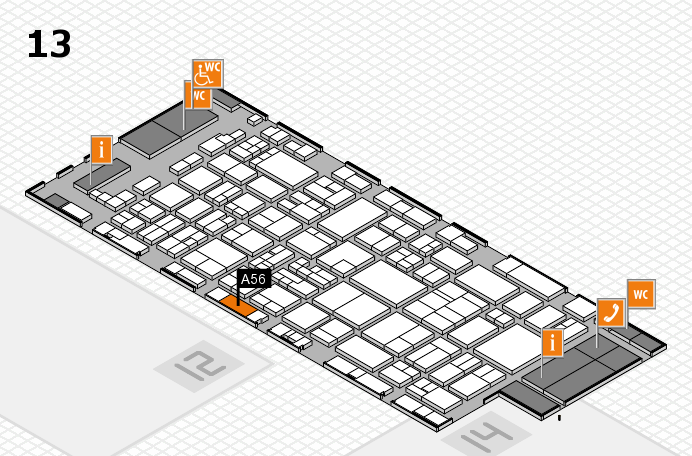 glasstec 2016 hall map (Hall 13): stand A56