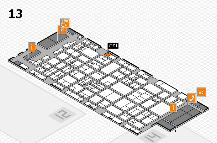 glasstec 2016 hall map (Hall 13): stand G71