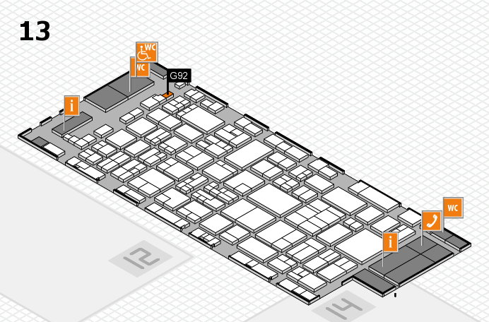 glasstec 2016 hall map (Hall 13): stand G92