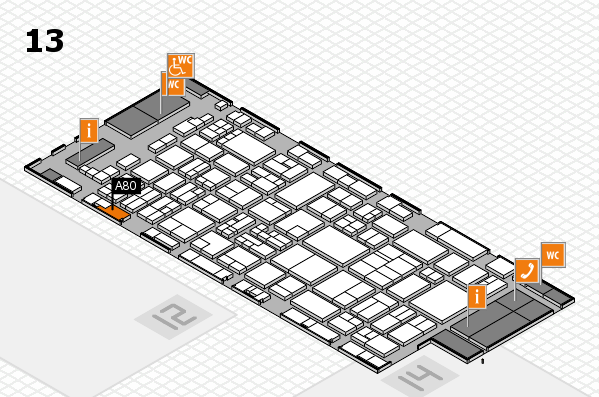 glasstec 2016 hall map (Hall 13): stand A80