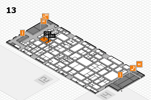 glasstec 2016 hall map (Hall 13): stand D83, stand D85