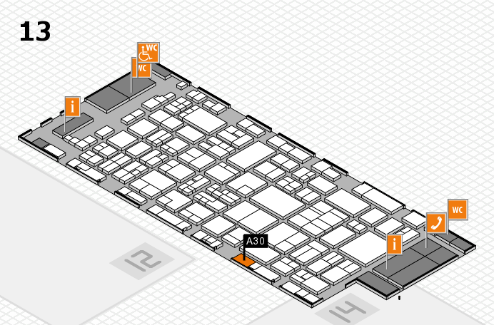 glasstec 2016 hall map (Hall 13): stand A30