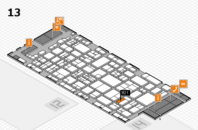 glasstec 2016 hall map (Hall 13): stand B21