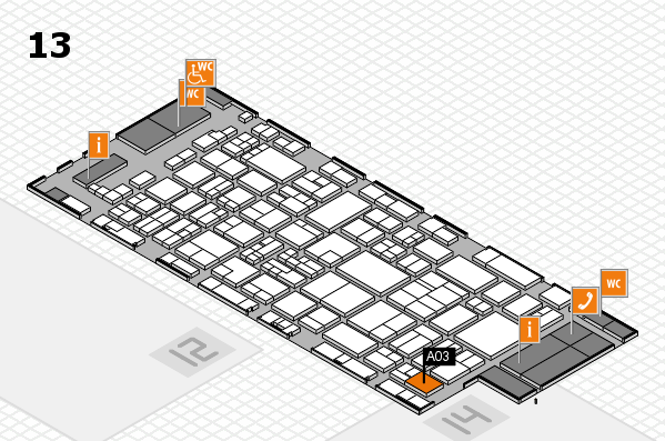 glasstec 2016 Hallenplan (Halle 13): Stand A03