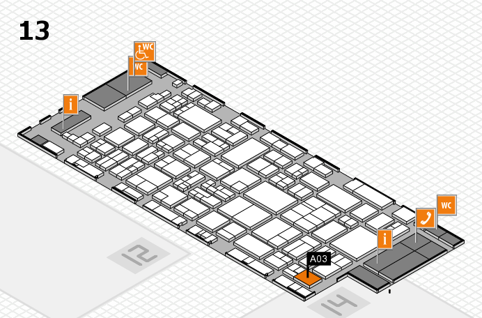 glasstec 2016 hall map (Hall 13): stand A03